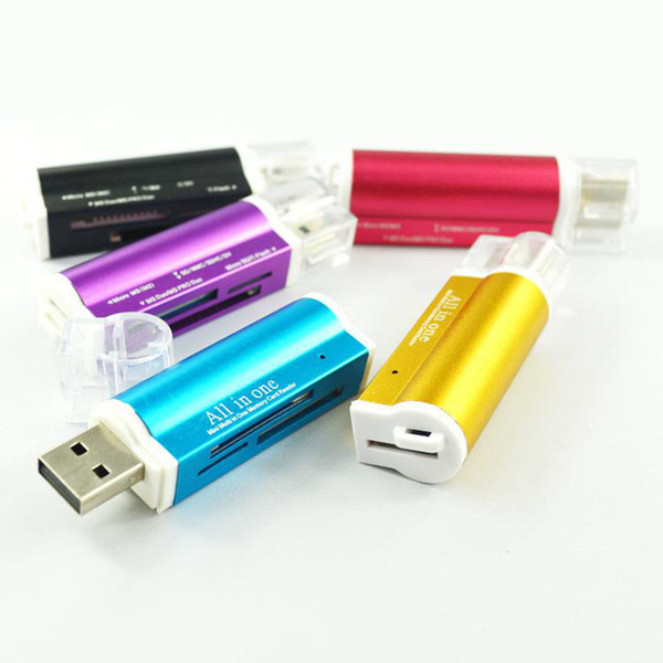 best selling 500pcs Lighter Shaped All In One USB 2.0 Multi Memory Card Reader for Micro SD TF M2 MMC SDHC MS Free DHL