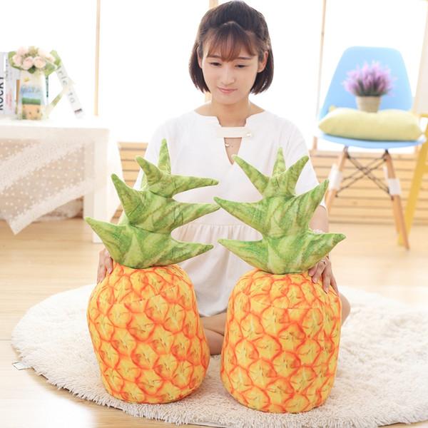 Wholesale- 1pcs 60cm Fresh Fruit Style Simulation of Pineapple Cushion Pillows Cute Plush Stuff Doll pineapple Throw Pillows