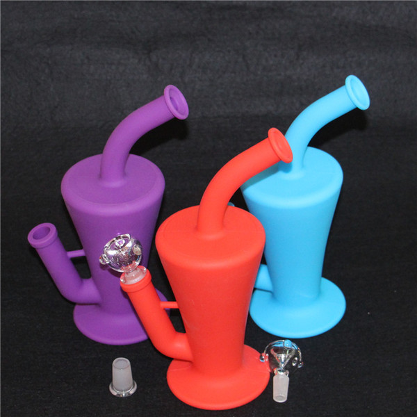 Wholesale Silicone Dab Concentrate Rig Oil Burner Bong Glass 10.5 inch Unbreakable Silicone Water Pipe Beaker Bongs Free Shipping