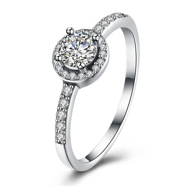 925 Sterling Silver Cubic Zirconia Simulated Diamond Classic Round Halo Ring US Size 6-8