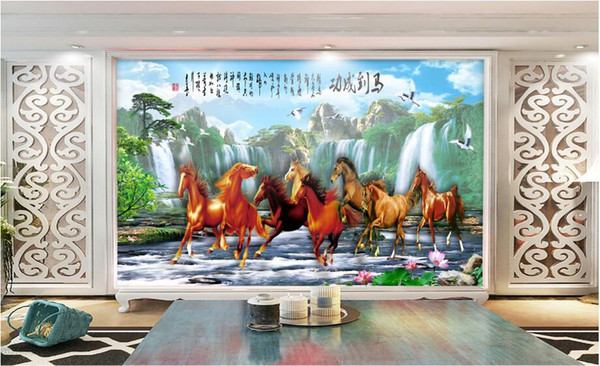 3d room wallpaper custom photo non-woven mural Chinese horse running landscape painting picture 3d wall murals wallpaper for walls 3 d