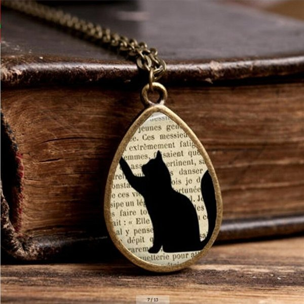 2017 New Cat Silhoette Necklace Cute Black Cats Jewelry Tear Drop Pendant Vintage Glass Photo Necklaces Gifts Girl