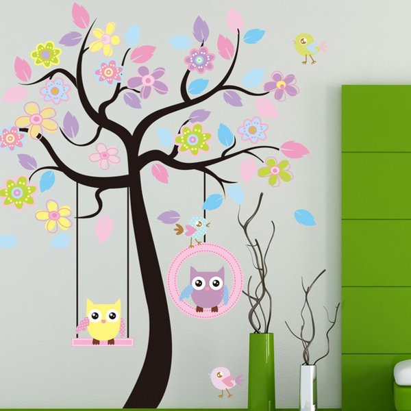 Wall Sticker Large Cute Owl Swing Flower Tree Decal Cartoon Stickers Animal Plant Decoration For Kids Room Home Decor 8 5kx F R