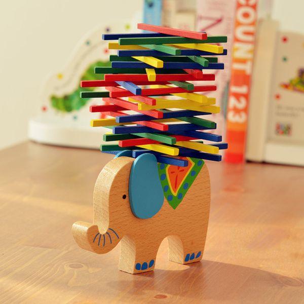 Wholesale- 1 Set Wooden Puzzle Toys German Animals Elephant Dog Balance Game Parents-Child Interactive Blocks Educational Toys