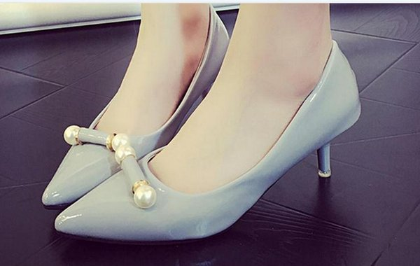 The spring pointed high-heeled shoes women heel with shallow mouth paint work order shoes wet FuRuiSource