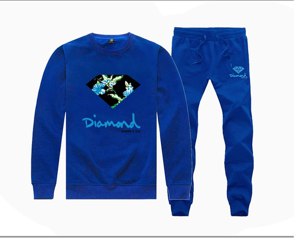 MH92074135 Hot-sale Diamond Supply Sweatshirts +PANTS suit for Men and Women Fleece Lined Hip Hop Tracksuits S-5XL