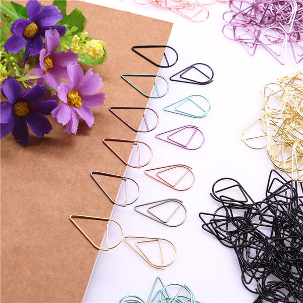 top popular 1000 pcs Metal Material Drop Shape Paper Clips Gold Silver Color Funny Kawaii Bookmark Office Shool Stationery Marking Clips 2021