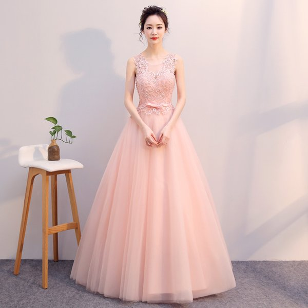 In Stock V Neck Pink Prom Dress Girls Bridesmaid Dress Long Slim ...
