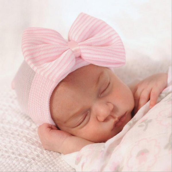 Baby Crochet Bow Hats Cute Baby Girl Soft Knitting Hedging Caps with Big Bows Autumn Winter Warm Tire Cotton Cap For Newborn BH07
