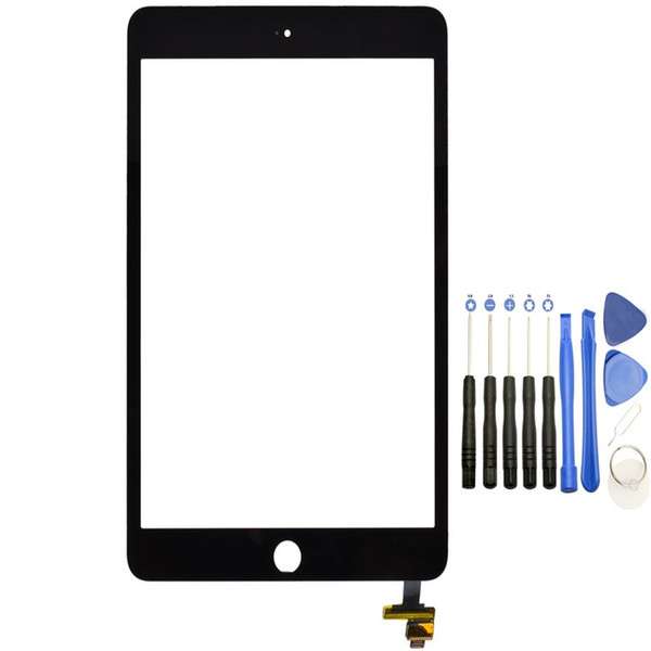 Touch Screen Glass Panel with Digitizer with IC Connector for iPad Mini 3 Black and White with Tools