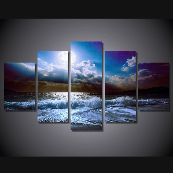 5 Pcs/Set Framed HD Printed Moon Moonlight Night Nature Picture Wall Art Canvas Print Decor Poster Canvas Modern Oil Painting