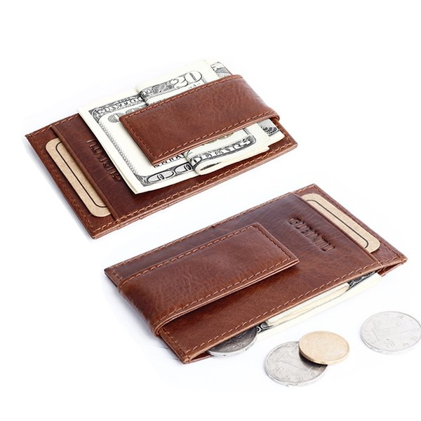 Wholesale- High Quality genuine leather money clip wallet famous brand purse with clip vintage men clamp for money crazy horse money holder