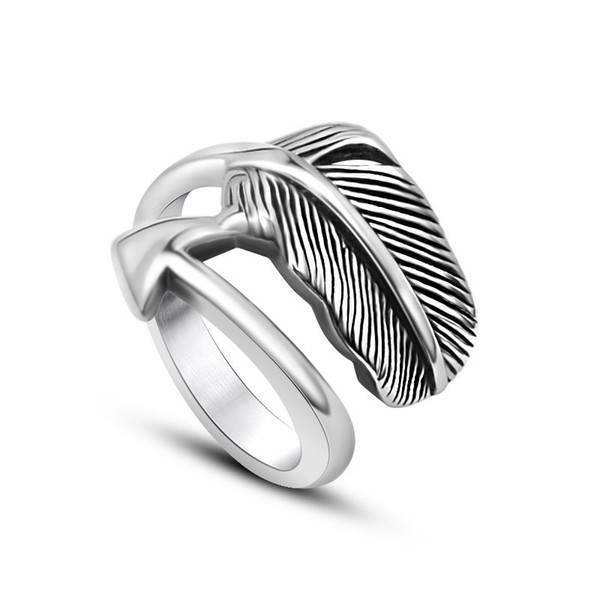 2017 arrow feather New Fashion Daily Wear Rings Top Quality Lead & Nickel Free Black Color Stainless Steel Men Party Rings