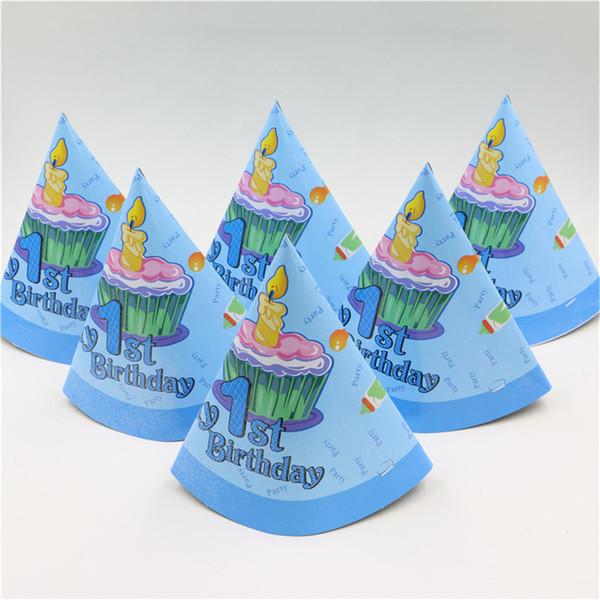Atacado-6pcs / pack menino de um ano de idade crianças feliz aniversário chapéu boné com decoração de cone de cone suprimentos chapéus chapéu de papel tampas