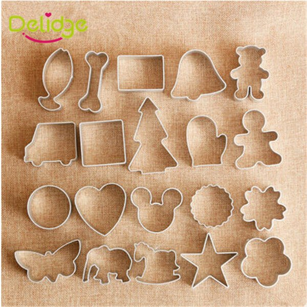 Delidge 20pc 10 shapes cookie mold Aluminum Alloy Cute Cookie Cutter10 Types DIY Baking Cutter Biscuit Mold Cake Tools