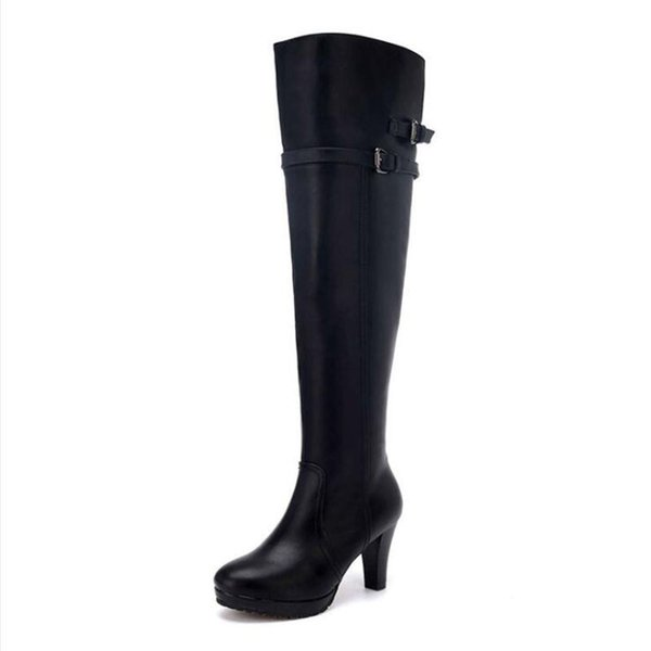 Winter wool inside knight boots women high-heeled knee boots, knee high boots zipper top quality plus size