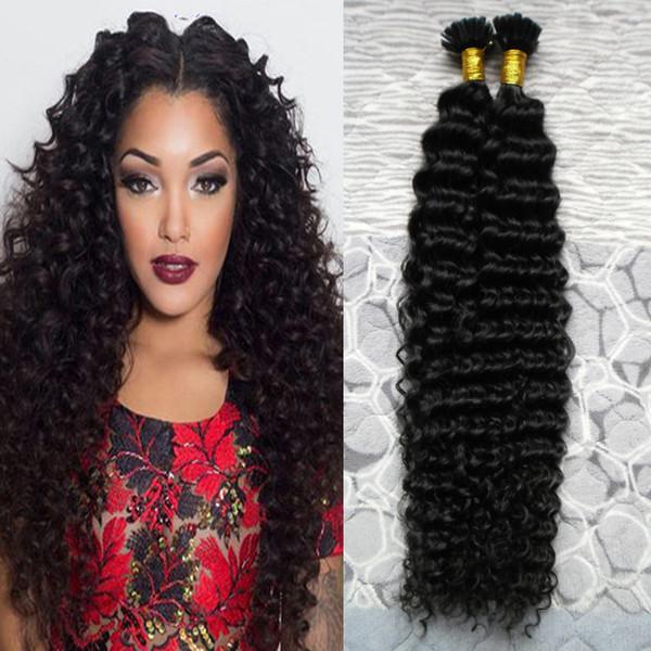 Natural color keratin human fu ion hair nail u tip 100 remy human hair exten ion 100g 1g trand kinky curly pre bonded hair exten ion
