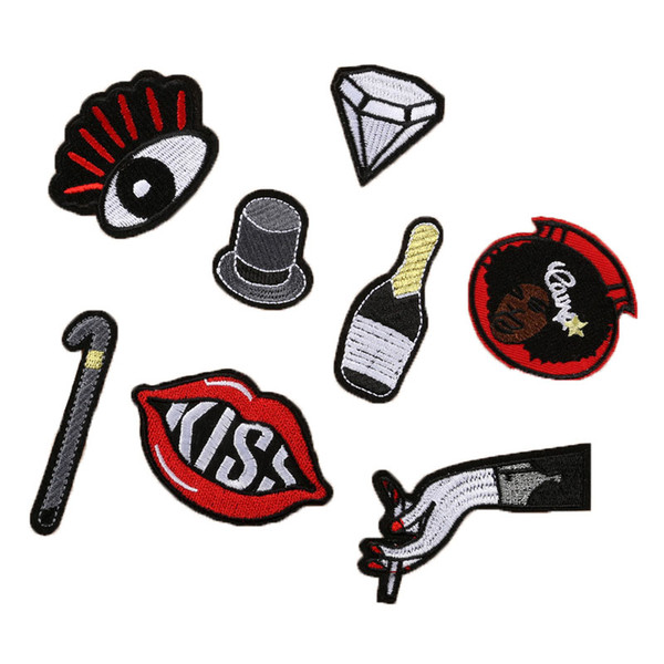 8 pcs Cute Cartoon Eye Diamond Hat Bottle Hand Kiss Lip Motif Embroidered Patches Iron On Patch Badge DIY Clothing Applique