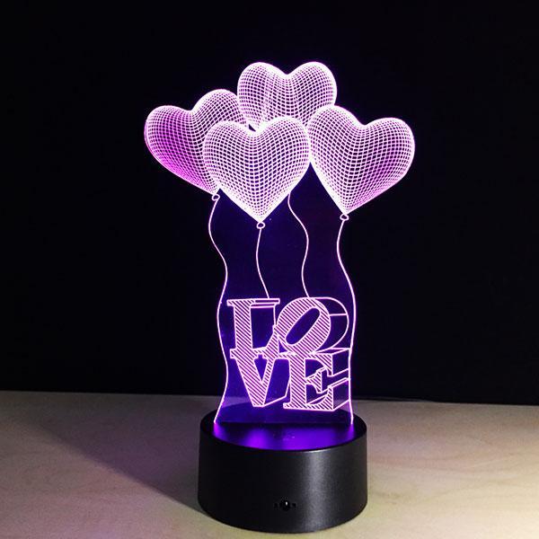 Romantische 3D Nacht Liebe Heart-shaped Visualisierung LED Nachtlichter Optische Täuschung Kunst Geschenk für Hochzeit Valentine Freundin Frau