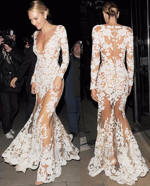 Autunno Runway Abiti donna alta qualità sirena manica lunga tuffo celebrità pizzo bianco Dres full-length vedere attraverso il vestito