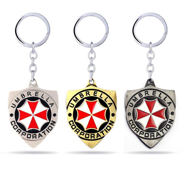 3 cores Série de Filmes Chaveiro Resident Evil chaveiros Red guarda-chuva encantos chaveiros Chave Titular da moda jóias chaveiros presentes