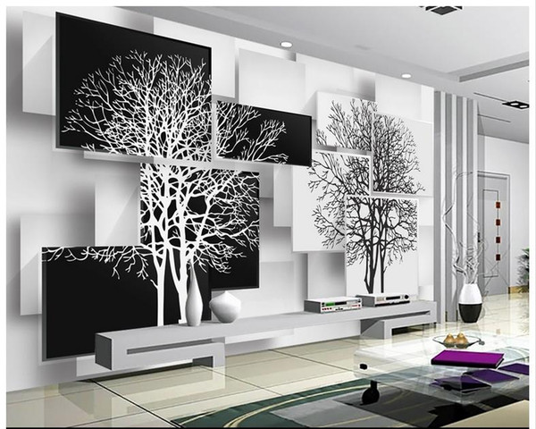 best selling Free shipping High Quality Custom 3d wallpaper murals wall paper Simple black and white tree 3 d TV setting wall decor livingroom wallpaper
