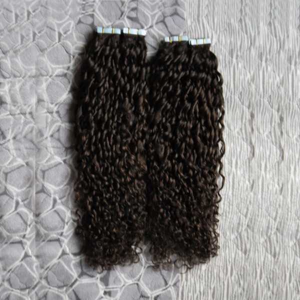 Mongolian kinky curly tape in human hair exten ion 200g 80pc afro kinky curly hair kin weft eamle hair exten ion
