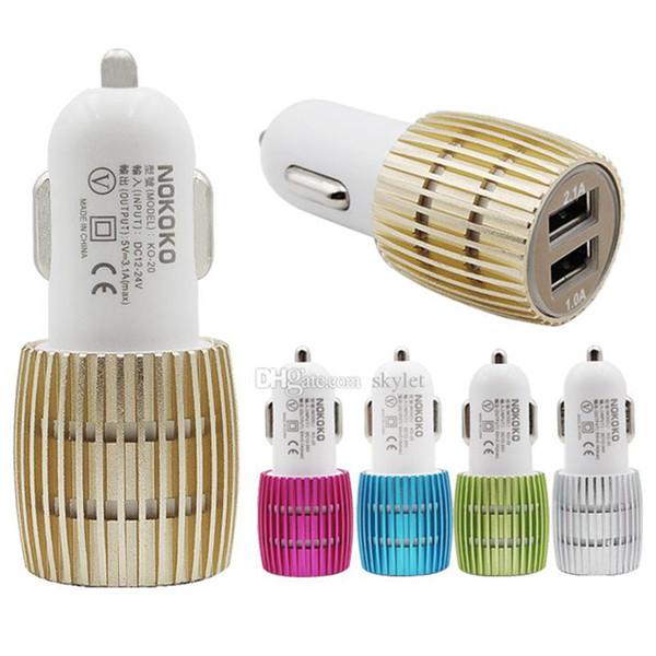 Adaptateur de charge du chargeur de voiture 2 ports USB double LED NOKOKO pour iPhone XS MAX téléphone intelligent LG Huawei