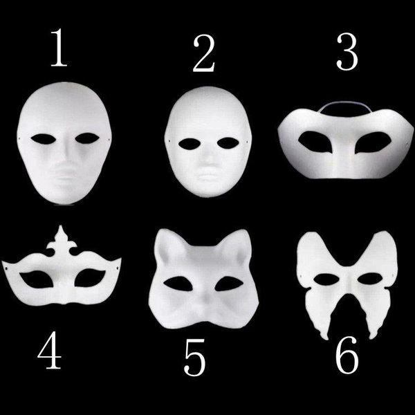 máscaras de fiesta cariel 100 piezas de media cara blanca lisa DIY niño Máscaras de corona Papel en blanco para la fiesta de halloween # H54