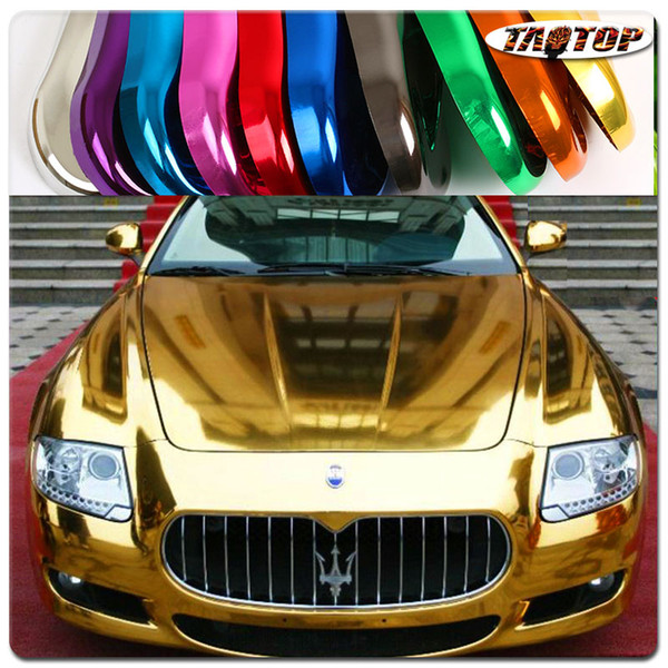 Prezzo di fabbrica 1.52x30M 60''X1181 '' Air Free Bubbles Specchio Chrome Wrap Gold Car Vinyl Wrap Sticker