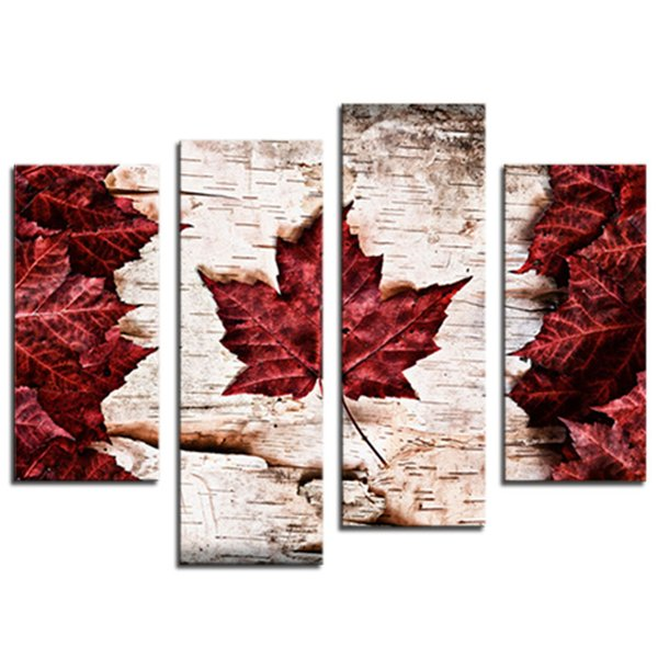 4 Pieces Canvas Paintings Art Red Maple leaves Wall Decor Painting On Canvas Picture For Home Decor as Gifts(Wooden Framed)