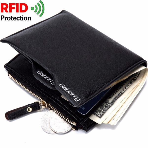 Theft Protec Coin Bag zipper men wallets famous brand mens wallet male money purses Wallets New Design Top Men Wallet