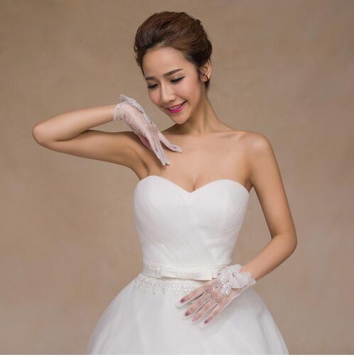 luvas de casamento da noiva rendas lucy se refere a furar luvas de broca de design curto luvas de arco