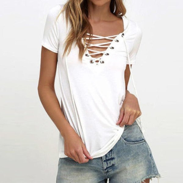 Womens Blouses 2018 Summer Sexy V Neck Blouses Short Sleeve Casual Hollow Out Lace-Up Solid Shirts Tees Tops Oversized