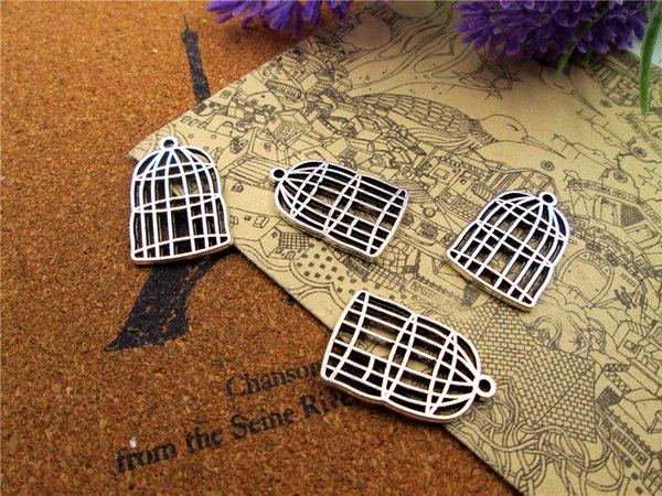 12pcs Charms Antiqued Silver Tone 2 sided bird cage charm pendants 26x16mm