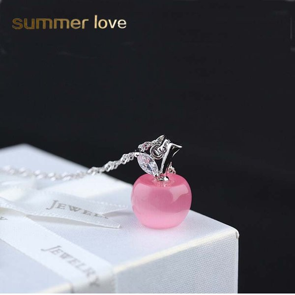 Lovely Pink White Opal Apple Pendants Necklace For Women Silver Chain Necklace For Neck Collier Woman Girl fashion jewelry