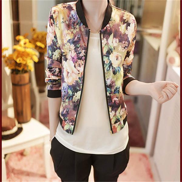 7aa7e4f8b Wholesale 2016 New Fashion Autumn Women Jackets Flower Print Casual Coats  Zipper Thin Bomber Jacket Long Sleeve Coat Outwear Female Cloths Brown ...