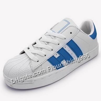 Lowest Price ! Men Casual Shoe Superstar Female Sneakers Women Zapatillas Deportivas Mujer Lovers Sapatos Femininos White Blue Size 36-44