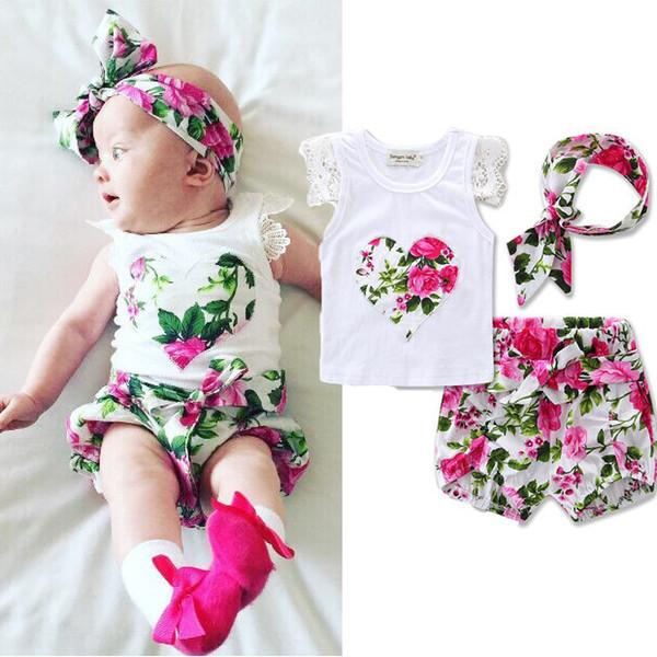 Ins Sıcak Yenidoğan Bebek T-Shirt Kısa Bantlar Set Bebek Kız Pantolon Bantlar Çiçek Tulum Tulumlar Bebek Yürüyor Bodysuits 70-110 cm KST02