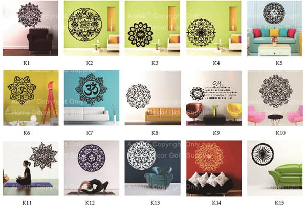 Mixed Wholesale order Mandala Vinyl Wall Stickers Removable Foral Muslim Decals Islamic Flower Wall Mural Art