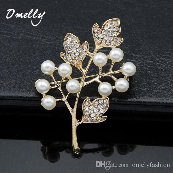 18K Gold Plated Clear Rhinestone Crystal Cream Pearl Leaf Flower Brooches Pins Bridal Brooch Party Jewelry