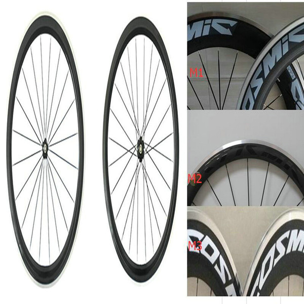 Top sale 50mm alloy surface road bike carbon wheels cosmi blue/white/black decal bicycle carbon wheels alloy carbon wheels with bearing hubs