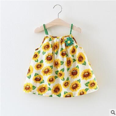 Hot Sale Summer Floral Suspender Dress For Little Girls Bohemian Beach Dress Seaside Vacation Sleeveless Skirt Top Quality