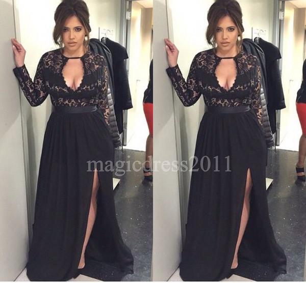 Gorgeous Black Plus Size Evening Dresses with Long Sleeves A-Line Keyhole Neck Illusion Bodice Chiffon Split Prom Gowns Formal Dress