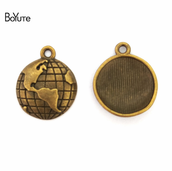 BoYuTe (50 Pieces /lot) 15MM Zinc Alloy Travel Theme Planet Globe Charms Vintage Style Earth World Map Pendant Diy Jewelry Accessories