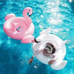 Anillo de natación inflable del bebé Cisne blanco Anillo de natación del flotador del bebé Anillo de natación del bebé Barco inflable Playa Juguetes Flamenco para 0T - 3T G28