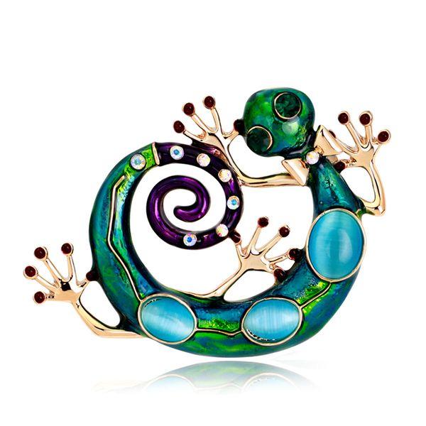 Neues Design Bunte Epxoy Emaille Eidechse Broschen Vintage Legierung Strass Opal Tier Brosche Pins Vergoldet Schmuck Viele Großhandel