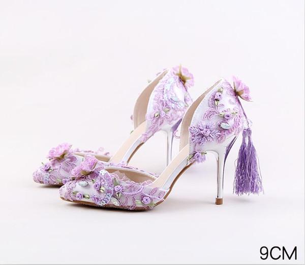 Rose De Soirée Prom Violet Dentelle Applique Demoiselle Acheter D'honneur Mariage Sexy Rouge Chaussures Mariée Femmes Glands Club Sandales BxsQrCthod