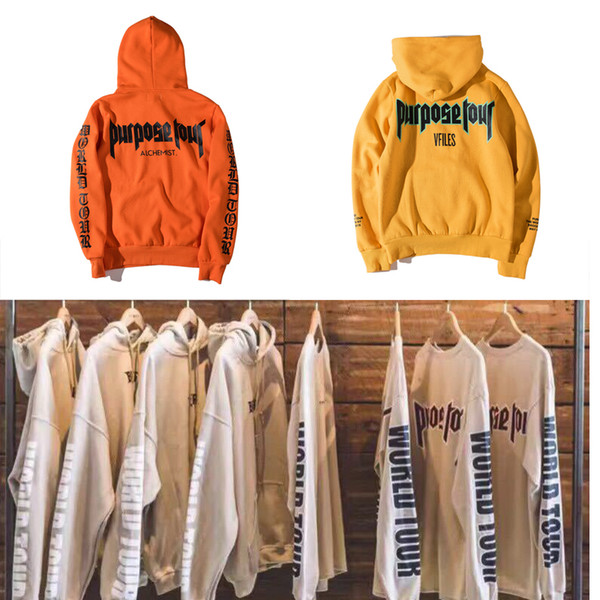 Wholesale-Purpose Tour Justin Bieber Hoodies Men Women Justin Bieber World Tour Hip Hop Fear of God Purpose Tour Justin Bieber Sweatshirts