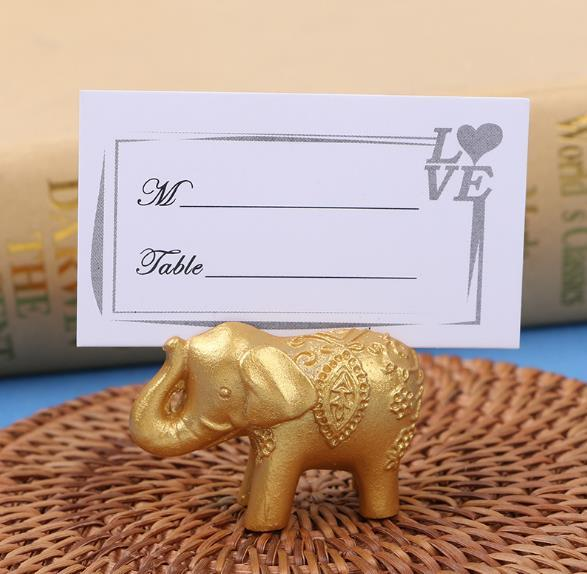 best selling Golden Silver Resin Lucky Elephant Place Card Holder Wedding guests name holders wholesales 50pcs lot free shipping